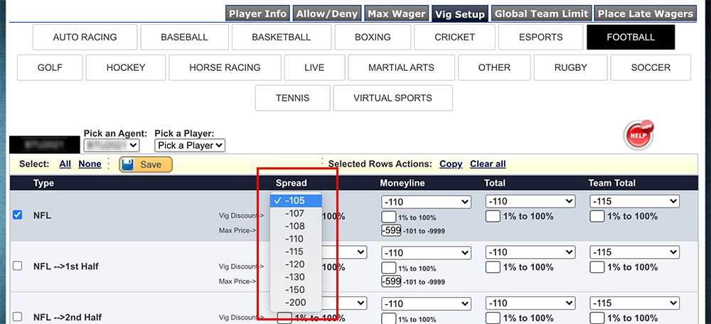 Juice and max moneyline setup options at PPHSportsbook.net's online bookie software.