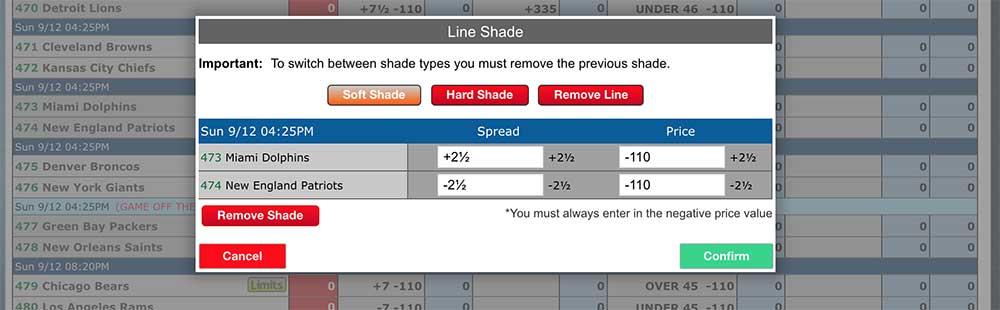 Adjusting lines using pphsportsbook.net's game admin (line mover) screen.