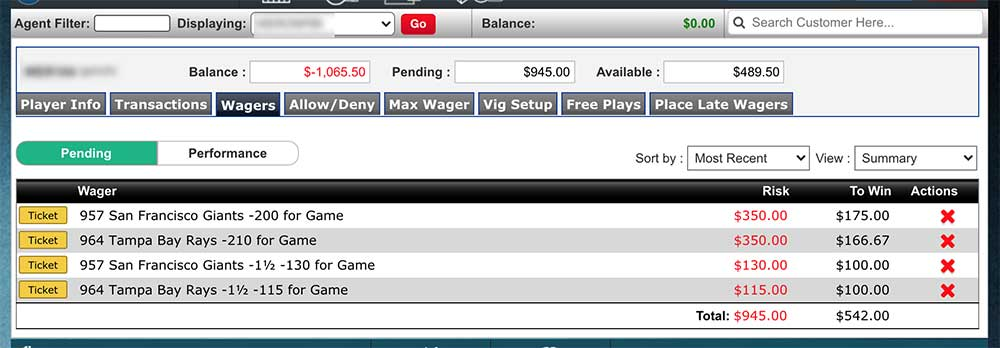 Listing player tickets from within the pay per head software's game admin tool.