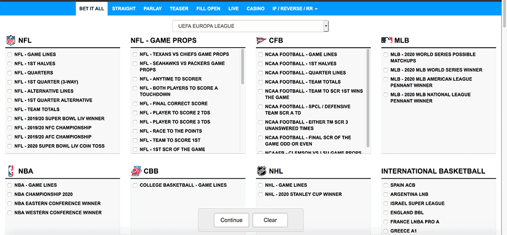 Aceperhead.com Sportsbook Main Dashboard