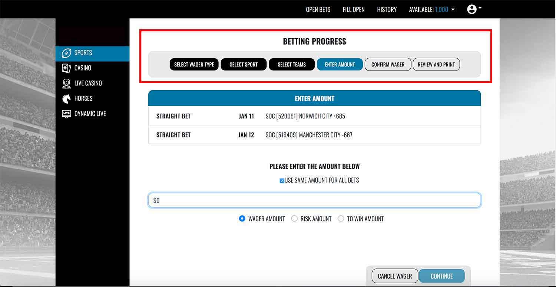 Realbookies.com's multi-step ticket insert process