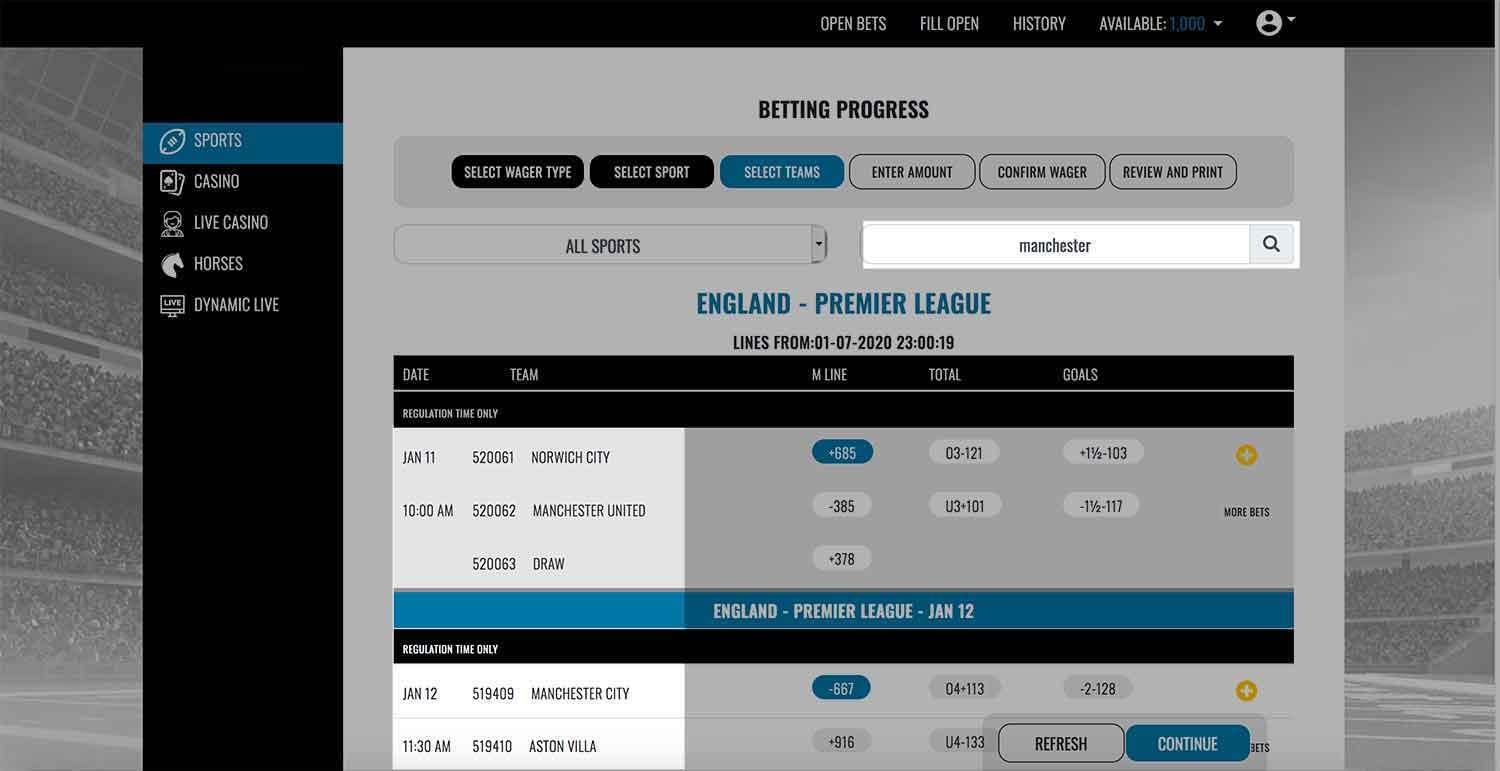 Search tool function in Realbookies.com sportsbook