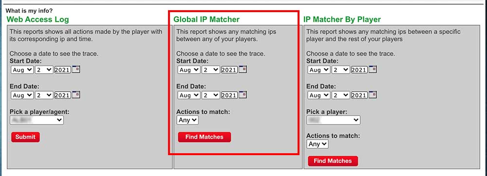 Global IP matcher to compare your players IP access