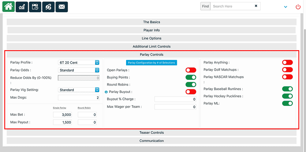 Parlay Settings customization screen on PPHSportsbook.net