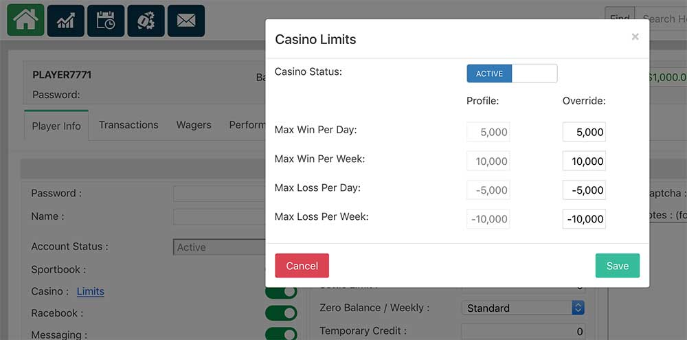 Casino limits at PPHSportsbook.net
