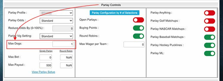 Max underdogs parlay settings control