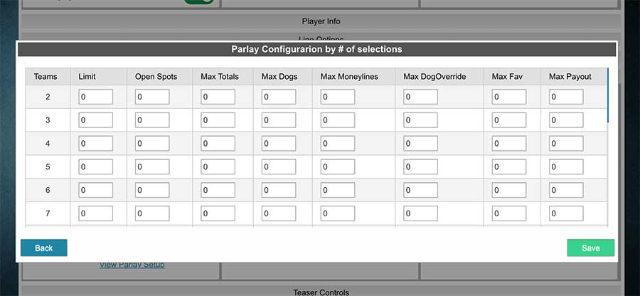 Parlay configuration by numbers of selection - table